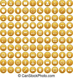 100 stopwatch icons set gold