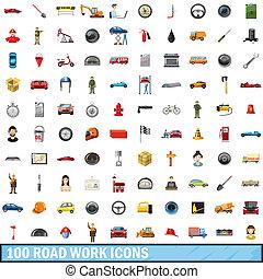 100, straße arbeit, heiligenbilder, satz, karikatur, stil