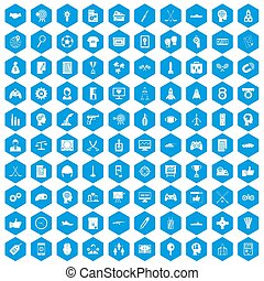 100 strategy icons set blue
