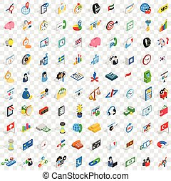 100 strategy icons set, isometric 3d style