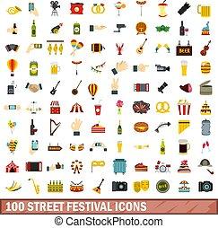 100 street festival icons set, flat style