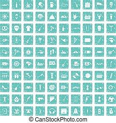 100 street festival icons set grunge blue