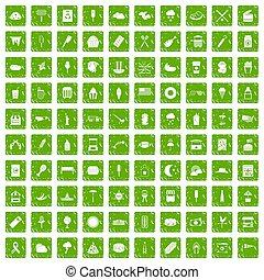 100 street food icons set grunge green