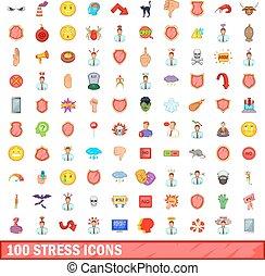 100 stress icons set, cartoon style