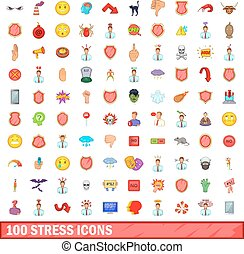 100 stress icons set, cartoon style