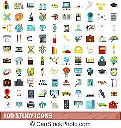 100 study icons set, flat style