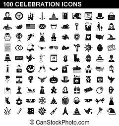 100, style, célébration, ensemble, icônes simples