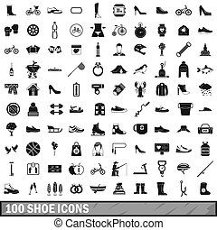 100, style, ensemble, chaussure, icônes simples
