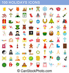100, style, ensemble, icônes, plat, fetes