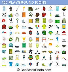 100, style, plat, ensemble, icônes, cour de récréation