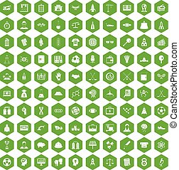 100 success icons hexagon green