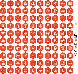 100 success icons hexagon orange