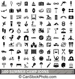 100 summer camp icons set, simple style