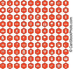 100 sun icons hexagon orange