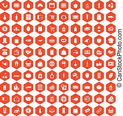 100 supermarket icons hexagon orange