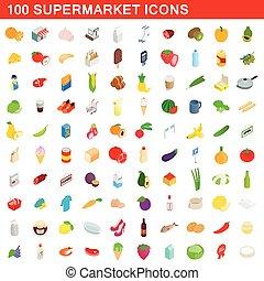 100 supermarket icons set, isometric 3d style