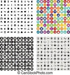 100 supermarket icons set vector variant
