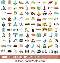 100 supply delivery icons set in flat style for any design vector illustration