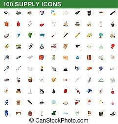 100 supply icons set, cartoon style