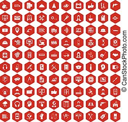 100 support icons hexagon red