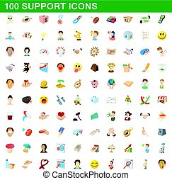100 support icons set, cartoon style