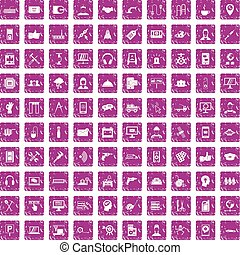 100 support icons set grunge pink - 100 support center icons...