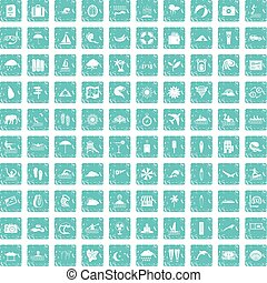 100 surfing icons set grunge blue