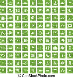 100 surfing icons set grunge green