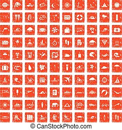 100 surfing icons set grunge orange