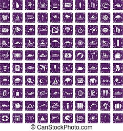 100 surfing icons set grunge purple
