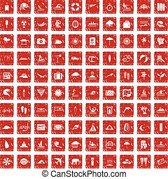 100 surfing icons set grunge red