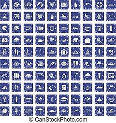 100 surfing icons set grunge sapphire
