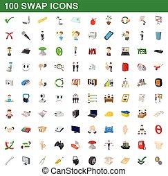 100 swap icons set, cartoon style
