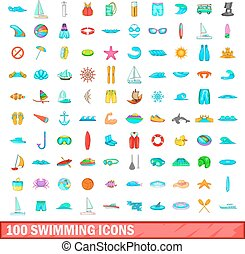 100 swimming icons set, cartoon style