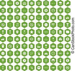 100 symbol icons hexagon green