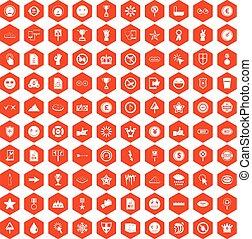 100 symbol icons hexagon orange