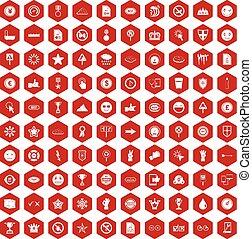 100 symbol icons hexagon red