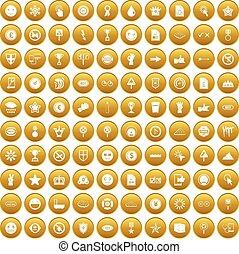 100 symbol icons set gold