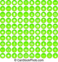 100 symbol icons set green circle