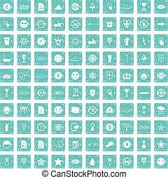 100 symbol icons set grunge blue