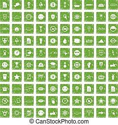 100 symbol icons set grunge green