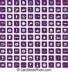 100 symbol icons set grunge purple