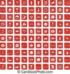 100 symbol icons set grunge red