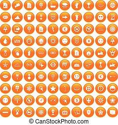 100 symbol icons set orange