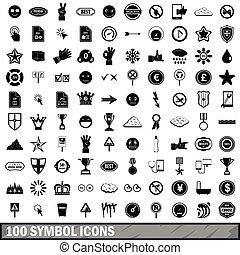 100 symbol icons set, simple style