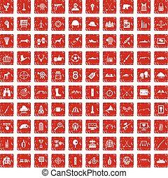 100 target icons set grunge red