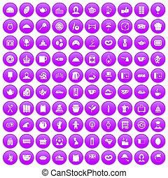 100 tea time food icons set purple