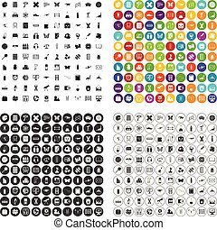 100 teaching materials icons set vector variant