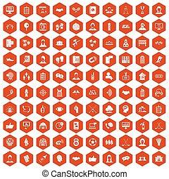 100 team icons hexagon orange