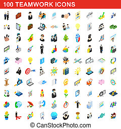 100 teamwork icons set, isometric 3d style